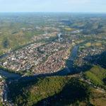 Cahors : la presqu'île vue du ciel